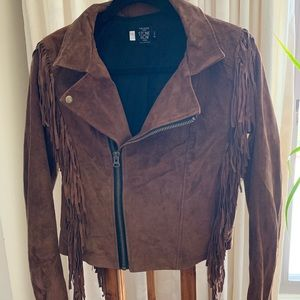 VOLCOM leather suede fringe jacket